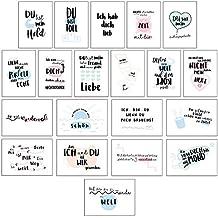 CUPCAKES & KISSES® 20er Postkarten Set Liebe I Schöne Sprüche & Motive I Grußkarten mit Herz für Freunde & Freundin I Liebes Karten für Hochzeit