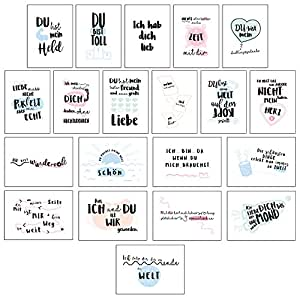 cupcakes kisses 20er postkarten set liebe i sch ne spr che motive i gru karten mit herz f r. Black Bedroom Furniture Sets. Home Design Ideas