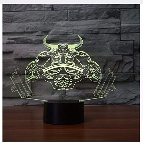 3D Babyzimmer Gewichtheben Dämon Modell Schreibtischlampe Decor 7 Farbwechsel Tauren Nachtlicht Usb Baby Schlaf Leuchte Kind Geschenk Licht Box -