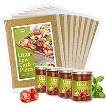 Lizza Low-Carb Pizza-Teig aus Lein-Samen und Chia-Samen. Bio. Gluten-Frei. Vegan. (8 x 180g inkl. 4 x 200ml Tomatensauce)