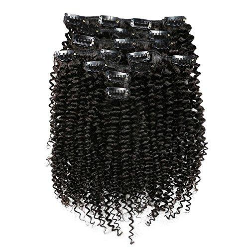 Mskay testa piena set 8 pezzi afro viziosa ricci extension capelli veri clip 100% remy human hair-doppia tessitura rinforzata #1 jet nero,120g, 10 pollici