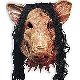 OKMIJNBH Halloween Maske-Schweinekopf Maske Halloween Maskerade Requisiten Tricky Maske Schwein Acht Ringe Parodie Terroristische Perücken