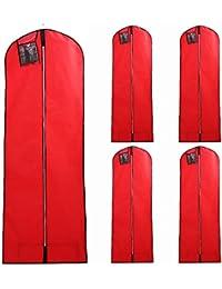 HIMRY® [5 pièces] Housse de protection Respirante pour Vêtements et Robes de Mariée avec 177 cm longueur de fermeture à glissière, pour Robes de Mariée, robes de soirée, robes, costumes, manteaux, vestes, pantalons et vêtements plus longs, avec 1 poche, rouge, KXB103-red-5x