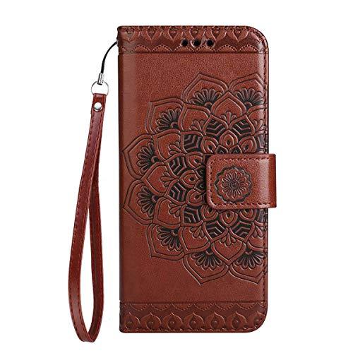 Yheng Samsung Galaxy J3 2017/J330 Coque, Fleur Imprimé Étui Folio à Rabat Housse Cuir Portefeuille Magnétique Wallet Case avec Porte-Cartes Fonction Stand Livre Coque pour Galaxy J3 2017/J330,Marron