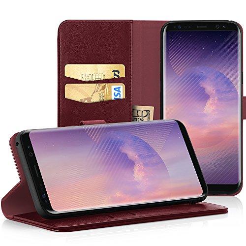 EasyAcc Hülle Case für Samsung Galaxy S8, Lederhülle PU Leder Flip Tasche Klappbar Schutzhülle Handyhülle mit [Ständer Funktion] Card Holder Cover Kompatibel mit Samsung Galaxy S8 - Wein Rot