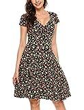 Beyove Damen Wickelkleid Sommerkleider Vintage Blumen Kleid V-Ausschnitt Partykleid Cocktailkleid Schwarz S