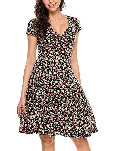 Beyove Damen Wickelkleid Sommerkleider Vintage Blumen Kleid V-Ausschnitt Partykleid Cocktailkleid...