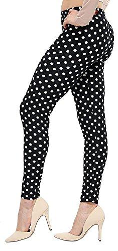 Nouveau Dames Plus Taille Imprimé Haute Élastiqué Taille Extensible Fitness Gym Jeggings Leggings 40-54 Black Polka