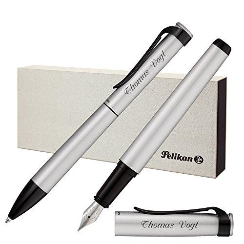 Pelikan Schreibset Stola III Kugelschreiber und Füllfederhalter Silber mit persönlicher Laser-Gravur matt Beschläge mit schwarzem Lack-Finish