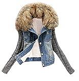 Emin Frauen Denim Jacket Damen Mädchen Beiläufig Stilvoll Gewaschene Jeans Denim Jeansjacke Jacket Oberbekleidung Coats Mantel Vintage Langhülse Outwear Ärmel Großer Pelzkragen Baumwolljacke