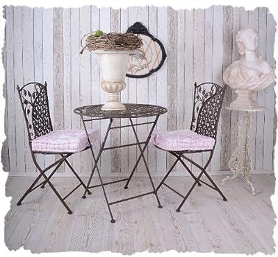 GartenmÖbelset Nostalgische Sitzgarnitur Tisch + Zwei StÜhle Vintage Palazzo Exclusiv