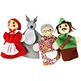 "Leoie 4pcs Cute ""Little Red Riding Hood Story"" Soft Finger Puppets Dolls Education Toys For Children"
