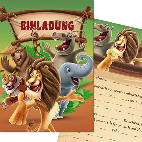 Kreatives Herz Zoo Safari Tiere Einladungskarten zum Kindergeburtstag (10er Set) Einladungen A6 Kinder Party (10 Karten)