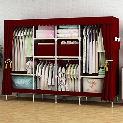 Armadio zgb spring guardaroba moderno con struttura in acciaio economica, doppio grande, dimensioni 205 * 45 * 170cm pieghevole (colore : #2)