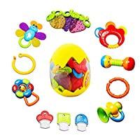 ‏‪Baby Rattles Teether Toy - sunwuking 13 Pieces Newborn Infant Shaking Rattles Set with Box Packing Educational Rattle Toy for Babies for 3, 6, 9, 12 Months Baby‬‏