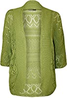 WearAll Women's Plus Knitted Crochet Short Sleeve Top Shrug Ladies Open Cardigan - Lime Green - 28-30