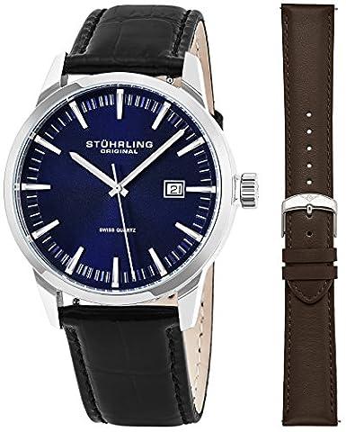 Stuhrling Original Classic Swiss Dress montre bracelet à quartz pour hommes, EN ACIER INOXYDABLE avec bracelet en cuir véritable (Bleu)