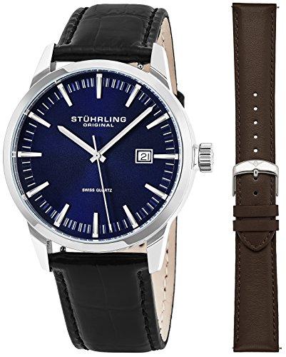 Stuhrling Herren Uhr Analog Quarz mit Leder Armband 555AZ.04 - Stuhrling Quarz Swiss Original