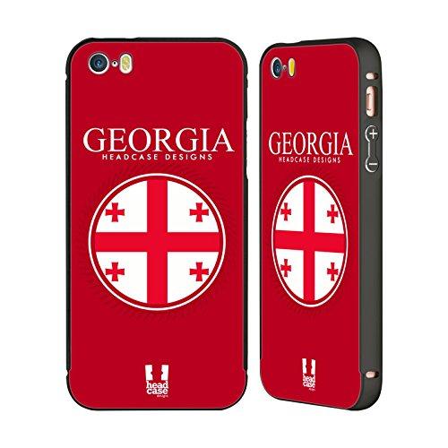 Head Case Designs Israelische Fahne Fahnen Flicken Schwarz Rahmen Hülle mit Bumper aus Aluminium für Apple iPhone 5 / 5s / SE Georgische Fahne