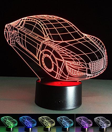 Art Deco Lampen, LED Nachtlampe der LED 3D Farbe die geführte Lichter, Kind-Raum Ausgangsdekoration-bestes Geschenk, Noten Kontroll Licht 7 Farben ändert USB angetriebene Schreibtisch Lampen (Fahrzeug)