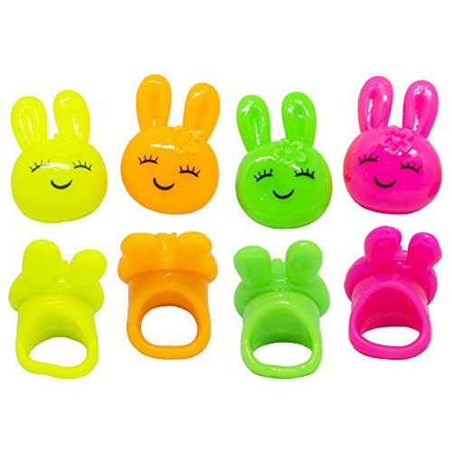 Blinkring 8er Set - Das Original - Bunny-Edition - Blinkende LED Party Ringe (4-Farben-Mix)