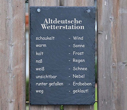A3 Schiefertafel Wetterstation Schiefer wenn Stein nass - Regen Wetterstein Schiefer Schild Schöne Geschenkidee - Personalisierbar