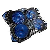 """Woxter Stinger Laptop Cooler – Base de refrigeración para portátiles,4 Ventiladores,Led Azul y 2 Puertos USB (25dBA,Led,Multicore,USB,Control de Velocidad para portátiles de 10""""-17""""), Color Negro"""