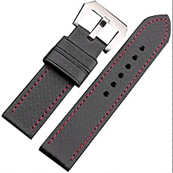 24mm Genuine Leather Carbon Texture Wristwatch Watch Band Strap Red Stitching