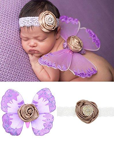 UGUAX Neugeborene Schmetterling Flügel Kostüm Foto Prop Outfit Stirnband aus Spitze für Baby Mädchen (Neugeborenen Schmetterlings Kostüm)