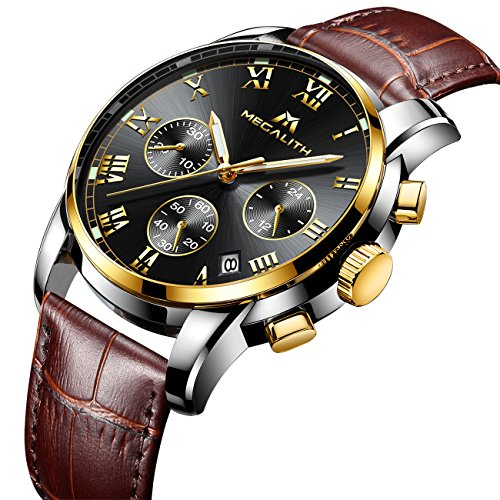 Mens Watches Men Chronograph Waterproof Sports Date Calendar Luxury Analogue Quartz Counts Wrist Watch Gents Casual Business Stopwatch Fashion Dress Watches with Black Dial Brown Leather Strap