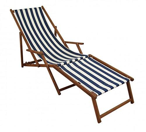 Erst-Holz Liegestuhl blau-weiß Sonnenliege Gartenliege Deckchair Buche dunkel Fußablage klappbar 10-317F