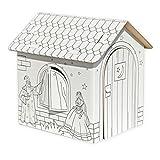 Celebration Spielhaus aus Karton Puppenhaus aus Pappe Bastelkarton zum Bemalen Märchenhaus mit Einhorn 32,5 x 26,5 x 36,5 cm