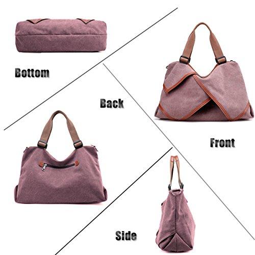 61d84274533 LOSMILE Women s handbag Canvas Shoulder Bag Large Hobo Tote Bags Ladies Top-Handle  Casual Beach Holiday Weekend Bags. (Purple) - Buy Online in UAE.