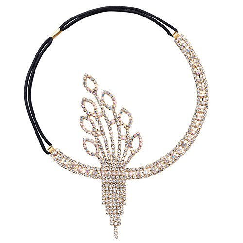 BABEYOND Damen Flapper Stirnband 1920s Stil Art Deco Inspiriert von Great Gatsby Blatt Medaillon Blinkende Kristalle Haarband 20er Jahre Kostüm Motto Party Accessoires (Stil3-Gold) (Der Große Gatsby Party Kostüme)