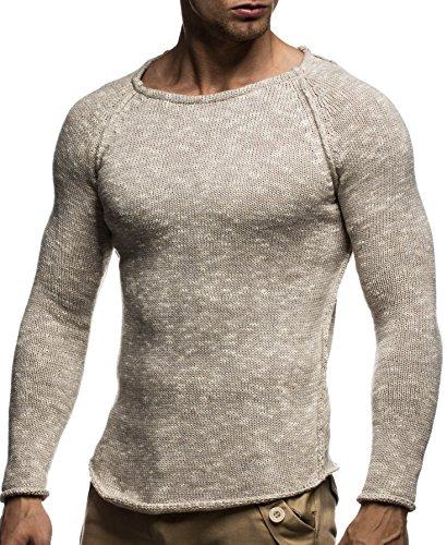 LEIF NELSON Herren Strickpullover Pullover Sweatshirt LN20713; Grš§e M, Beige