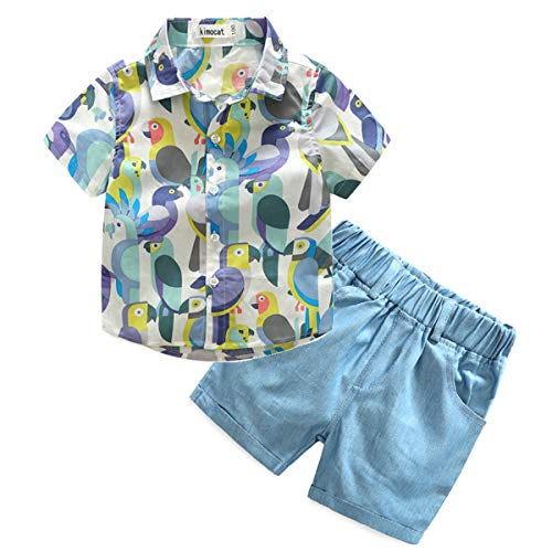 Parrot Kleinkind T-shirt (Parrot Print 2Pcs Kinder T-Shirt Atmungsaktiv Und Bequemes Poloshirt + Shorts)