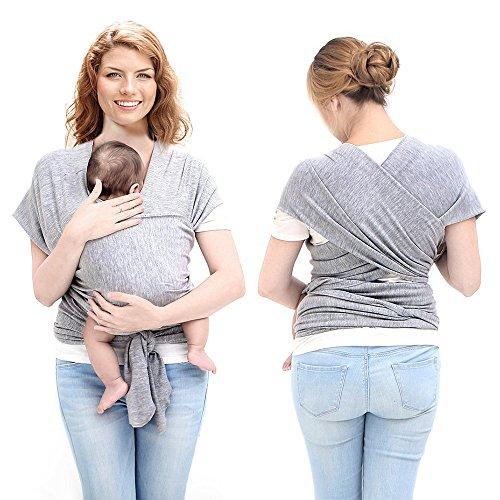 Ostenx Tragetuch Babytragetuch Bauchtrage Babytrage Baby Wrap Tragehilfe Baby Carrier Sling Babytragen Grau Babytragetücher für Männer und Frauen - 2