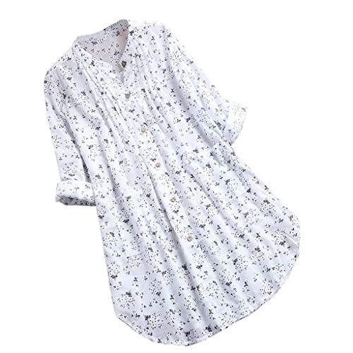 f3c7e7ba97 Beonzalez Camiseta con Cuello de Pico y Estampado Floral de Mujer Top con  Cuello en V Plisado Estampado Floral de Manga Larga Camiseta sin Mangas  Informal