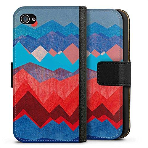 Apple iPhone X Silikon Hülle Case Schutzhülle Berge Muster Sonne Sideflip Tasche schwarz