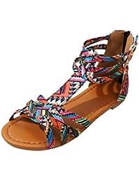 ASHOP Sandalias Mujer Bohemia Las Bailarinas Planas Zapatos de Cordones Verano Estilo étnico Moda Zapatillas De