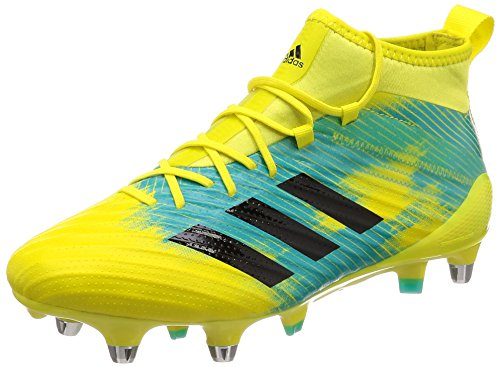 adidas Predator Flare (SG), Scarpe da Rugby Uomo, Giallo Shoyel/Cblack/Hiraqu, 48 EU
