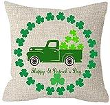 Toll2452 Happy St Patricks Day Truck Funda de Almohada de la Suerte Irlandesa Vintage de la Suerte de los irlandeses Gran decoración para Esquinas de porches sofá Cama