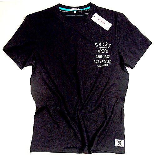 Armee-logo-t-shirt (Guess Beachwear Herren T-Shirt Shirt mit Logo Druck kurzer Arm Rundhals Crew-Neck Gr. S M L XL (L, Grau-Melange))