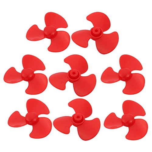 sourcing map 8pcs plastic 3 pallets 30 mm diameter red propeller for rc ship toy plane
