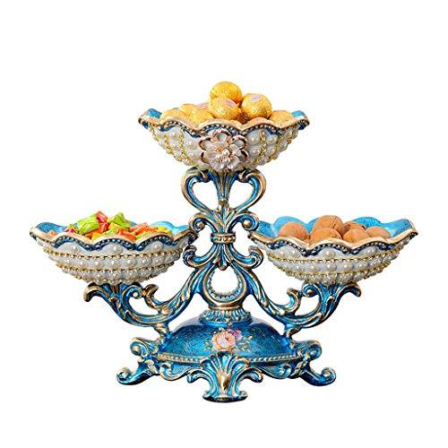 JXLBB Bleu Européen Creative Salon Assiette De Fruits Américain Ménage Multi-Grain Asséché Assiette De Fruits Table Basse Décoration De Luxe De Haut De Gamme Décoratif Rétro