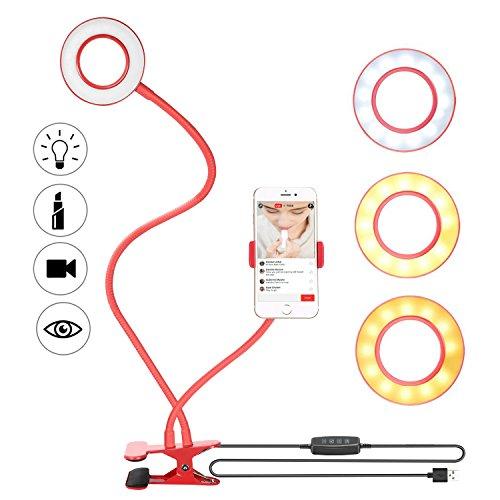 Bestter Led Selfie Licht mit Handy Halter Selfie Ringlicht: 3-Licht-Modus, 8-Level-Helligkeit, 360° Flexible Arme Schwanenhals-Halter für Liveübertragung Make-up für iPhone X / 8/7 / 6S, Samsung, HTC, Küche, Schlafzimmer usw (Rot)