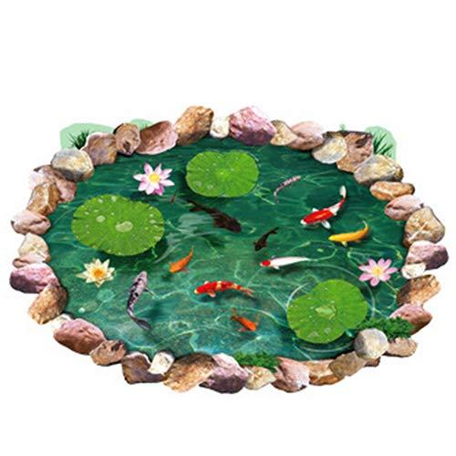 lyhhai Wasserdichter Lotusfischdruck 3D Boden-Aufkleber Boden-Aufkleber abnehmbar Home Decor