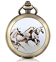 Infinite U Running Horses Skeleton Mechanical Pocket Watch Photo Locket Pendant Hand Wind Roman Numerals White Dial Fob/Long Chain Sweater Necklace