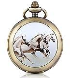 Infinite U Orologio da taschino meccanico con fotografica quadrante bianco cifra Romani in lega il disegno di tre cavalli due catene per uomo donna
