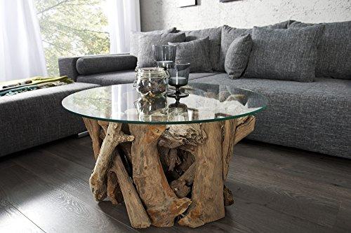 ... DuNord Design Couchtisch Rund Treibholz Massiv Glastisch 60cm Glas Holz  Tisch WOOD LOUNGE Wohnzimmertisch Natur Sofatisch ...